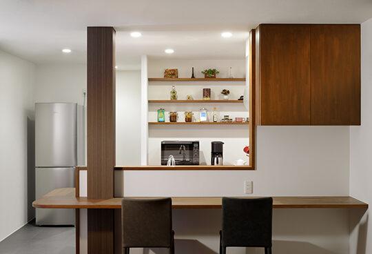 つくばみらい市のモデルハウス(リノベーション)のキッチン